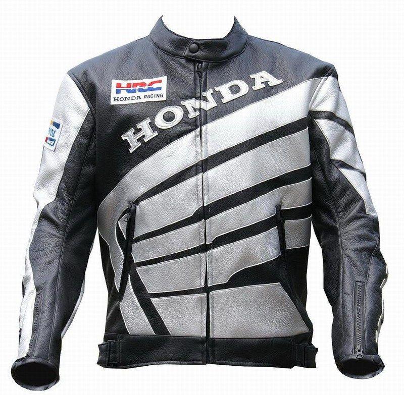 Мотокуртка PU Honda RC со встроенной защитой (черный-белый)